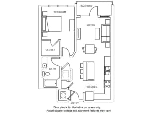 A5 floor plan at Windsor Parkview, Chamblee, GA