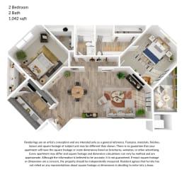 2 bedroom, 2 bathroom 1042 square feet