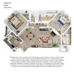 2 bedroom, 2 bathroom 1076 square feet