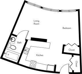 E1-A Floor Plan at The Luckman, Cleveland, Ohio