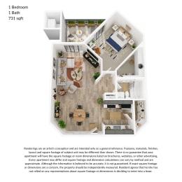 1 bedroom, 1 bathroom 731 square feet