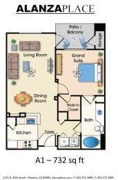 one bedroom one bathroom Floor plan at Alanza Place, Phoenix, AZ