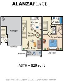 one bedroom one bathroom C Floor plan at Alanza Place, Phoenix, Arizona