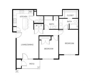 Daryn Plan 2 Beds 2 Baths 1,057 Sqft