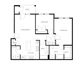 Avalon Plan 2 Beds 2 Baths 1,057 Sqft