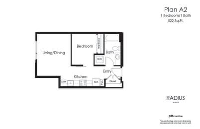 Radius A2 1 Bedroom 1 Bath