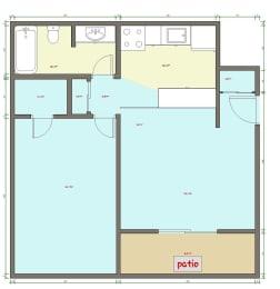 1 Bed 1 Bath Floor Plan at Veri at Timberhill, Corvallis, 97330