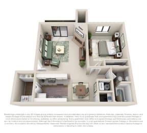 Floorplan Ponderosa 1 Bed 1 Bath