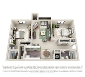 Floor Plan Spruce 2 bed 2 Bath