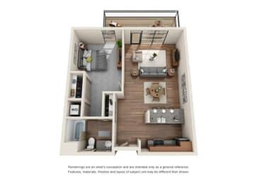 1 Bed 1 Bath Floor plan at Equinox, Seattle, WA