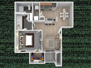 Floor Plan One Bedroom, One Bath, Large