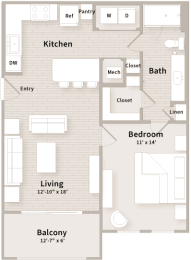 A1 floorplan which is a 1 bedroom, 1 bath apartment