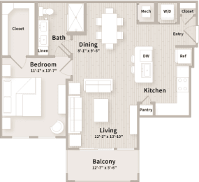 A2 floorplan which is a 1 bedroom, 1 bath apartment