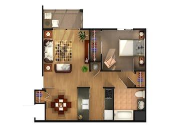 Classic One Bedroom Floor Plan at Van Horne Estates Apartments, Texas