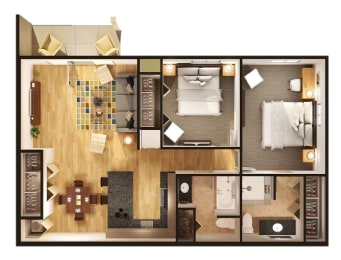 Two Bedroom Two Bathroom Floor Plan at Gray Estates Apartments, MRD Conventional, St. Clair, MI