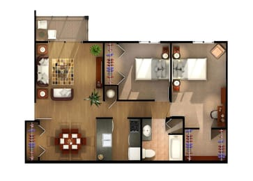 Dynamic Two Bedroom Floor Plan at Van Horne Estates Apartments, Texas, 79934