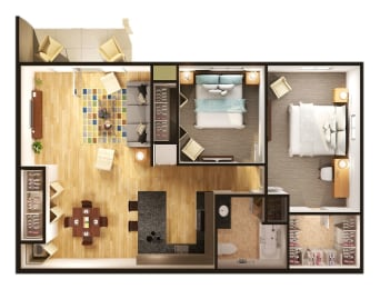 Two Bedroom One Bathroom Floorplan at Gray Estates Apartments, MRD Conventional, St. Clair, 48079