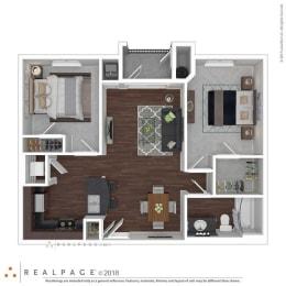 2Bedroom 1 Bathroom floor plan at The Life at Sterling Woods, Houston, Texas