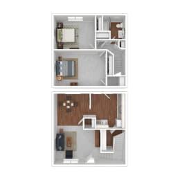 Floor Plan 2 Bedroom   1.5 Bathroom A