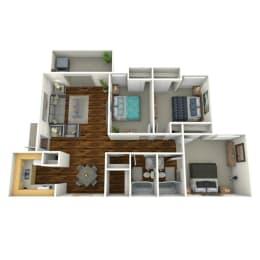3 Bed 2 Bath Floor Plan at The Life at Fairway Gardens, Atlanta, GA, 30354
