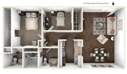 Floor Plan 2 Bedroom | 1.5 Bathroom
