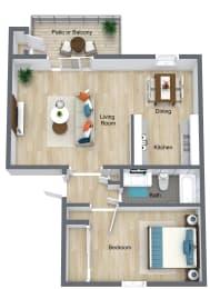 Floor Plan 1 Bedroom | 1 Bathroom B