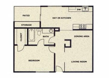 1 bedroom 1 bathroom floor plan at Wellington Estates in San Antonio, TX
