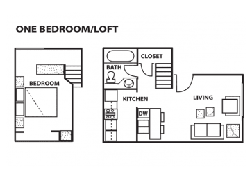 One bedroom loft floor plan at Cinnamon Tree Apartments in Albuquerque, MN