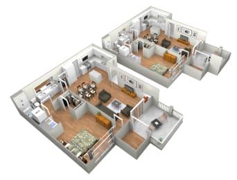 Avila 1 Bedroom 1 Bathroom Floor Plan at Levante Apartment Homes, California