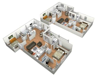 Belmonte 2 Bedroom 2 Bathroom Floor Plan at Levante Apartment Homes, Fontana, 92335