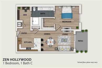 Floor Plan 1 Bedroom 1 Bath (A2)