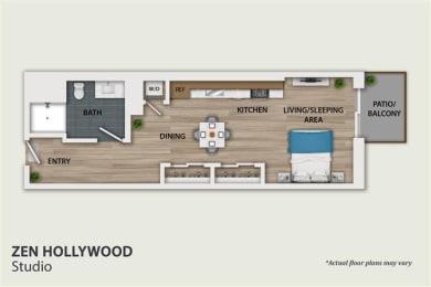 Floor Plan Studio 1 Bath