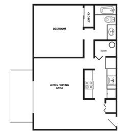 Floor Plan  Edgewood Manor   One Bedroom One Bathroom