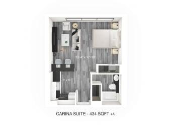 Studio Floor Plan at 190 Smith Luxury Apartment Suites, Winnipeg