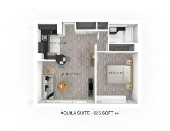 1 Bedroom 1 Bathroom Floor Plan at 190 Smith Luxury Apartment Suites, Winnipeg, MB, R3C 1J8