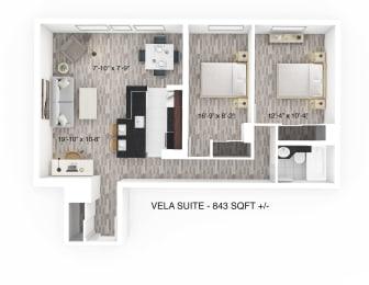 2 Bedroom 1 Bathroom Floor Plan at 190 Smith Luxury Apartment Suites, Winnipeg, Manitoba