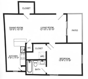 Floor Plan  A1 Floor Plan at Chateaux Dupre Apartments, The Barvin Group, Houston, TX, 77063