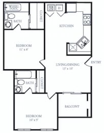 B1 Classic Floor Plan at The Grove at White Oak Apartments, The Barvin Group, Texas, 77008