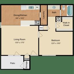 Floor Plan  One Bedroom Waverly at Horn Lake