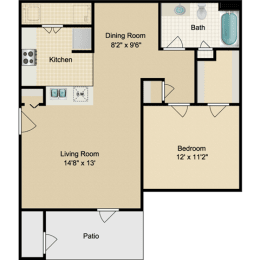 Floor Plan  1A 1 Bedroom Low Income Apartment for Rent at Town Parc Amarillo