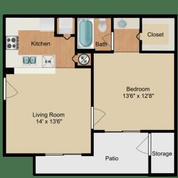 Floor Plan  Lily 1 Bedroom Lake Forest Apartments Daytona Beach