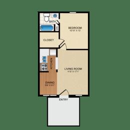 Floor Plan  Tumbleweed 1 Bedroom Apartment for Rent at Granite at Olsen Park Amarillo