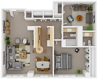 Floor Plan 1 Bedroom with Den