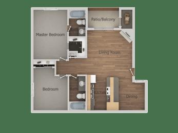 2 bedroom 2 bath Floor Plan at Glen OaksApartments, Glendale, 85301