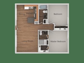 2 bedroom 2 bath Floor Plan at SandsApartments, Mesa, 85213