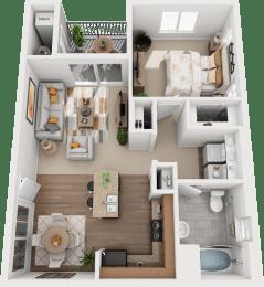 1 Bed 1 Bath Floor Plan at Falls at Riverwoods Apartments & Townhomes, Logan, Utah