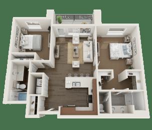 2 Bedroom Floor Plan at Foothill Lofts Apartments & Townhomes, Logan, UT