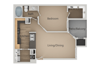 One Bed One Bath Floor Plan at Four Seasons at Southtowne Apartments, South Jordan, UT, 84095