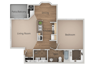 1 Bedroom 1 Bathroom Floor Plan at RemingtonApartments, Midvale, UT, 84047