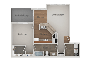 One Bed One Bath Floor Plan at Canyon Ridge Apartments, Arizona